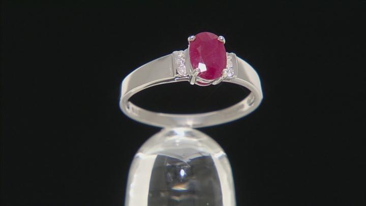 Red Burmese Ruby 14k White Gold Ring 1.04ctw