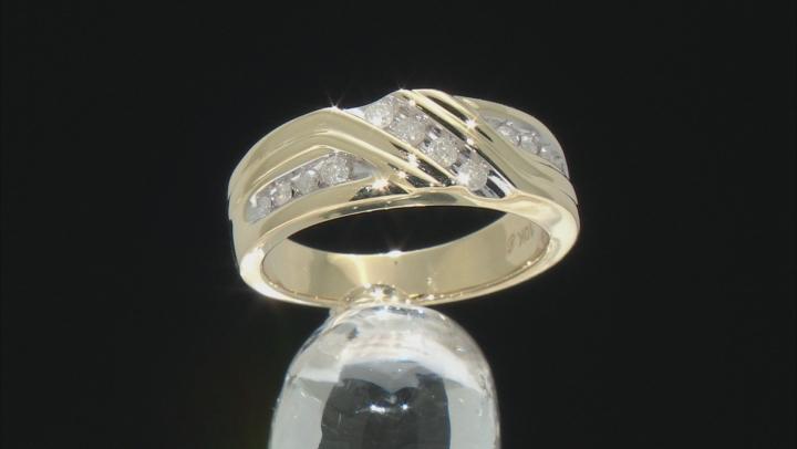 White Diamond 10k Yellow Gold Mens Band Ring 0.33ctw