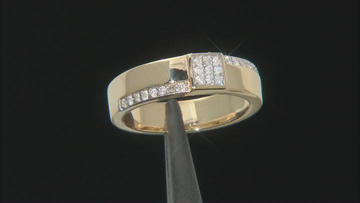 White Diamond 3k Gold Mens Cluster Ring 0.25ctw