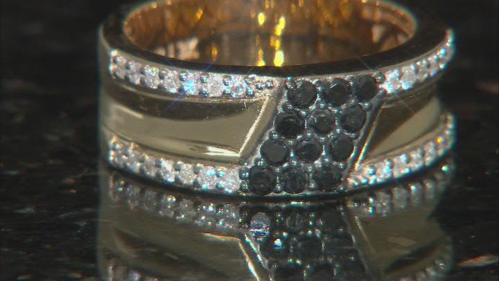 Black And White Diamond 3k Gold Mens Cluster Band Ring 0.75ctw