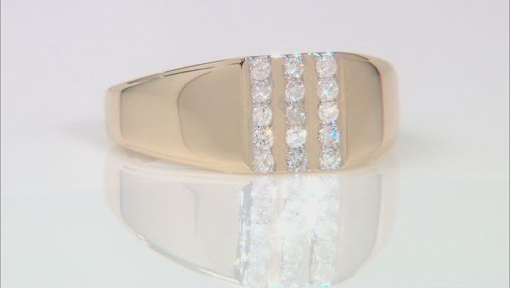 White Diamond 10K Yellow Gold Mens Ring 0.25ctw