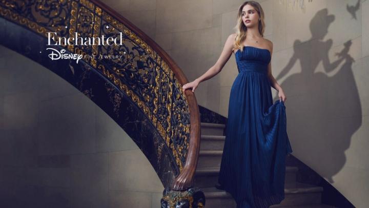 Enchanted Disney Cinderella Pendant Diamond/London Blue Topaz Rhodium Over Silver/10k Gold .70ctw