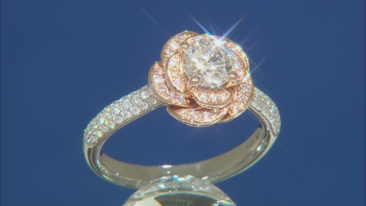Enchanted Disney Belle Rose Engagement Ring White Diamond 14K White And Rose Gold 1.25ctw