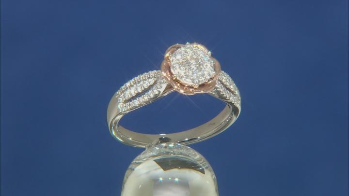 Enchanted Disney Belle Rose Ring White Diamond 14K White And Rose Gold 0.50ctw