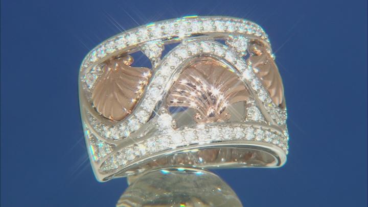 Enchanted Disney Ariel Seashell Ring White Diamond Rhodium Over Silver And 10K Rose Gold 0.50ctw