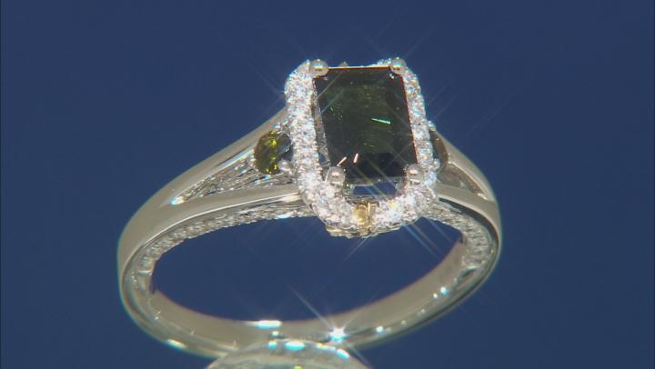 Enchanted Disney Tinker Bell Engagement Ring Tourmaline & Diamond 14K White Gold 0.84ctw