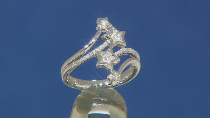 Enchanted Disney Tinker Bell Star Ring White Diamond Rhodium Over Silver 0.10ctw