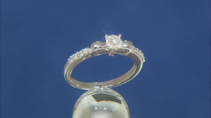 Enchanted Disney Snow White Bow Promise Ring White Diamond Rhodium Over Silver 0.25ctw