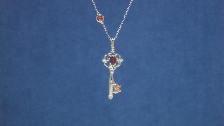 Enchanted Disney Snow White Key Pendant Garnet & Diamond Rhodium Over Silver & 10K Rose Gold 0.80ctw