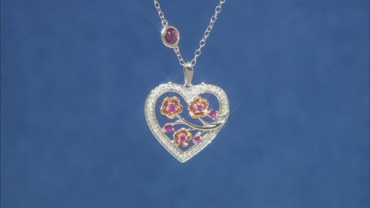 Enchanted Disney Mulan Plum Blossom Pendant Garnet & Diamond Rhodium Over Silver & 10K Gold 0.88ctw