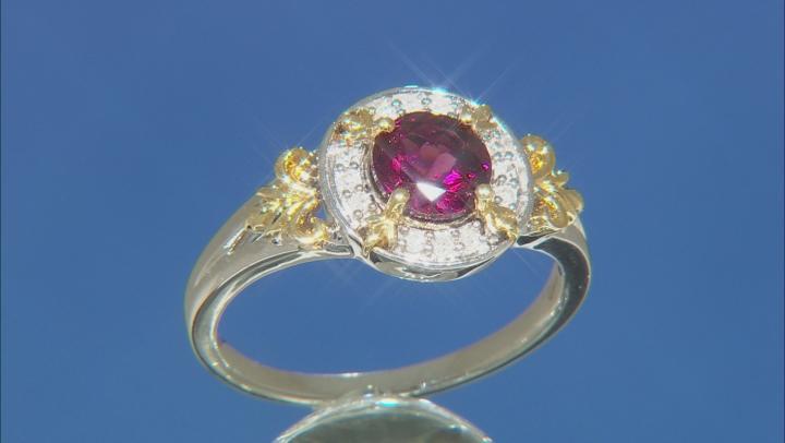 Enchanted Disney Anna Ring Red Garnet & Diamond Rhodium & 14K Yellow Gold Over Silver 1.42ctw
