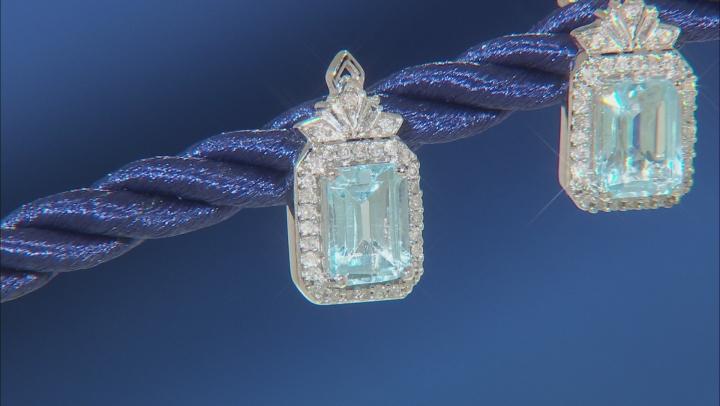 Enchanted Disney Elsa Earrings Sky Blue Topaz And White Diamond 10K White Gold 1.25ctw