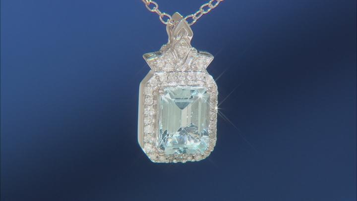 Enchanted Disney Elsa Pendant With Chain Sky Blue Topaz And White Diamond 10K White Gold 1.95ctw