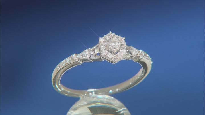 Enchanted Disney Elsa Ring Round White Diamond Rhodium Over Sterling Silver 0.20ctw