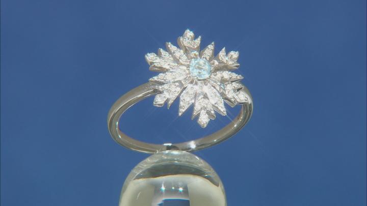 Enchanted Disney Elsa Snowflake Ring Sky Blue Topaz And White Diamond Rhodium Over Silver 0.33ctw