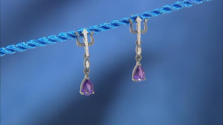 Enchanted Disney Villains Ursula Earrings Amethyst & White Diamond Black Rhodium Over Silver 0.45ctw