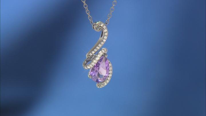 Enchanted Disney Villains Ursula Pendant Amethyst & White Diamond Black Rhodium Over Silver 1.60ctw