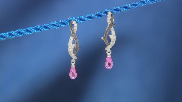 Enchanted Disney Villains Maleficent Earrings Pink Sapphire & Diamond Rhodium Over Silver 0.24ctw