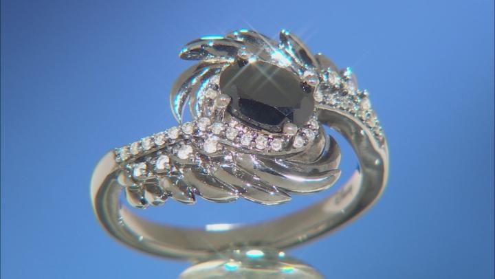 Enchanted Disney Villains Maleficent Ring Black Onyx & Diamond Black Rhodium Over Silver 0.85ctw