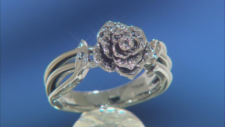 Enchanted Disney Villains Maleficent Rose Ring Black Diamond Black Rhodium Over Silver 0.20ctw