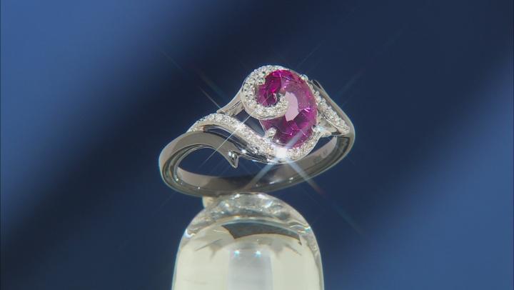 Enchanted Disney Villains Maleficent Ring Pink Topaz & Diamond Black Rhodium Over Silver 1.10ctw