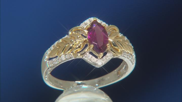 Enchanted Disney Anna Ring Rhodolite Garnet & Diamond Rhodium & 14k Yellow Gold Over Silver 1.20ctw
