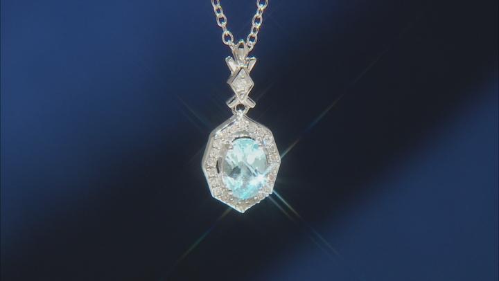 Enchanted Disney Elsa Halo Pendant Sky Blue Topaz And White Diamond Rhodium Over Silver 1.00ctw