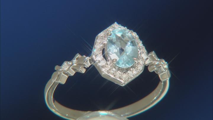 Enchanted Disney Elsa Halo Ring Sky Blue Topaz & White Diamond Rhodium Over Silver 1.00ctw