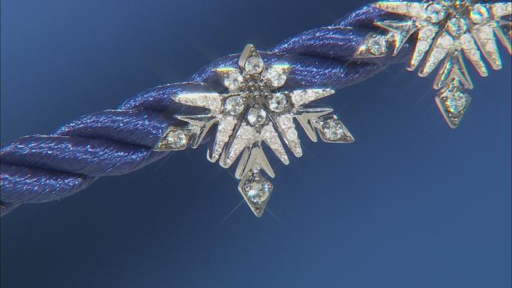 Enchanted Disney Elsa Stud Earrings Sky Blue Topaz & White Diamond Rhodium Over Silver 0.10ctw