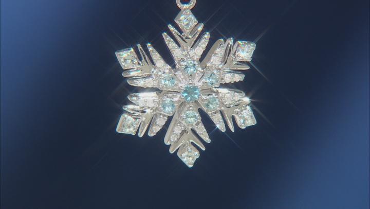 Enchanted Disney Elsa Pendant Multicolor Blue Topaz & White Diamond Rhodium Over Silver 0.16ctw