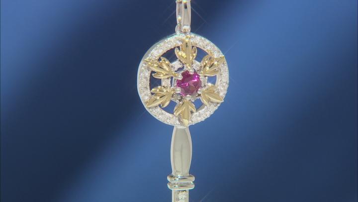 Enchanted Disney Anna Pendant Rhodolite Garnet & White Diamond Rhodium & 14k Gold Over Silver .30ctw