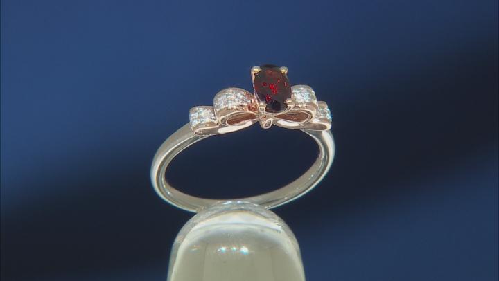 Enchanted Disney Snow White Bow Ring Garnet & White Diamond 10k Gold & Rhodium Over Silver 0.30ctw