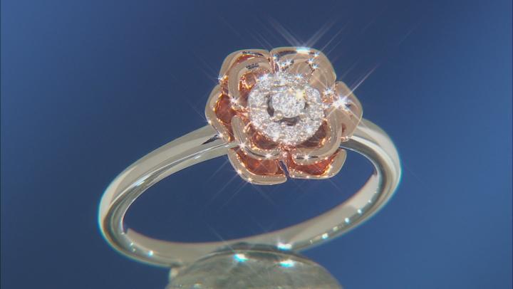 Enchanted Disney Belle Rose Ring White Diamond 14k White And Rose Gold 0.10ctw