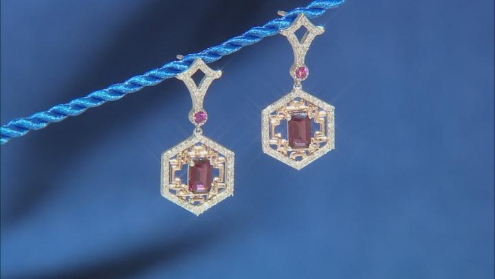 Enchanted Disney Mulan Earrings Rhodolite Garnet & White Diamond 10k White & Rose Gold 1.10ctw