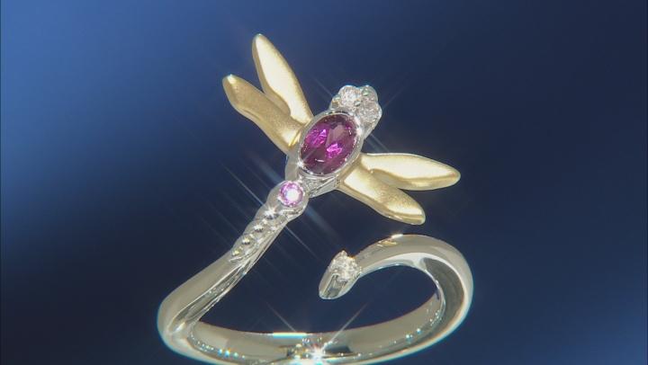 Enchanted Disney Mulan Ring Rhodolite Garnet & Diamond Rhodium & 14k Yellow Gold Over Silver 0.35ctw