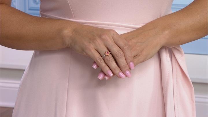 Enchanted Disney Mulan Ring Rhodolite Garnet & Diamond Rhodium Over Silver & 10k Rose Gold 0.25ctw