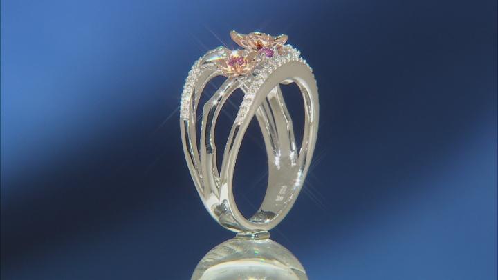 Enchanted Disney Mulan Ring Rhodolite Garnet & Diamond Rhodium & 14k Rose Gold Over Silver 0.32ctw