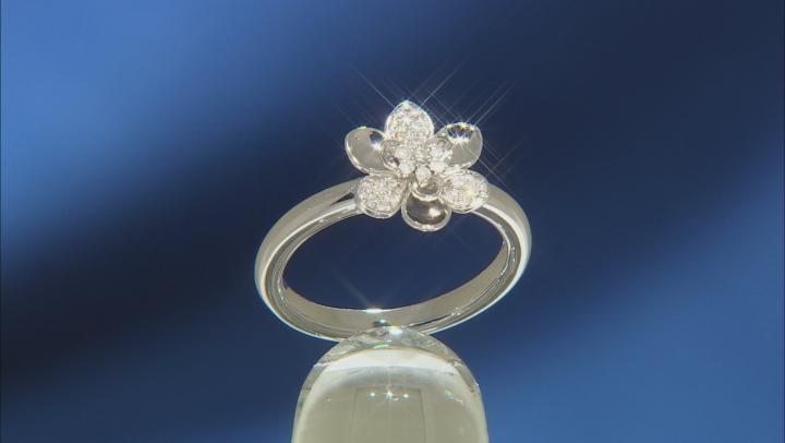 Enchanted Disney Mulan Plum Blossom Ring White Diamond Rhodium Over Silver 0.10ctw