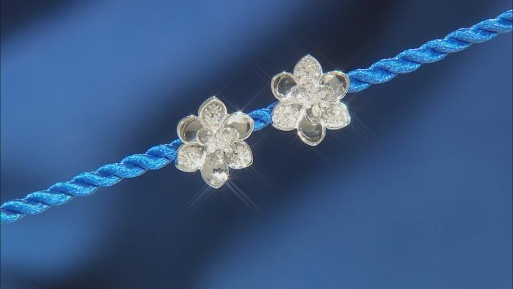 Enchanted Disney Mulan Plum Blossom Stud Earrings White Diamond Rhodium Over Silver 0.17ctw