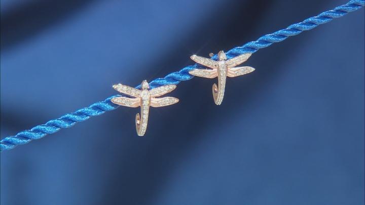 Enchanted Disney Mulan Dragonfly J-Hoop Earrings White Diamond 14k Rose Gold Over Silver 0.22ctw
