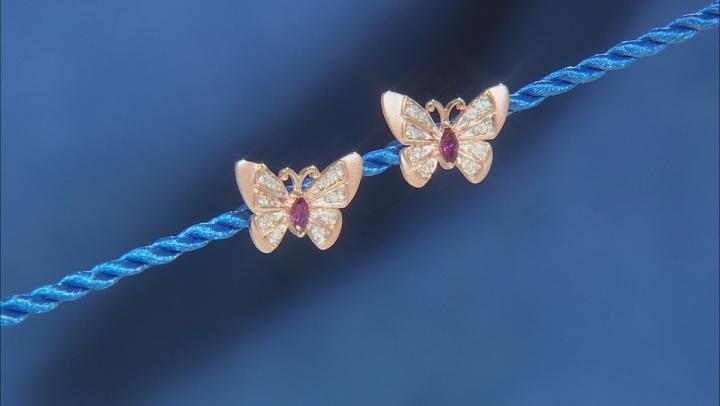Enchanted Disney Mulan Butterfly Earrings Rhodolite Garnet & Diamond 14k Gold Over Silver 0.30ctw