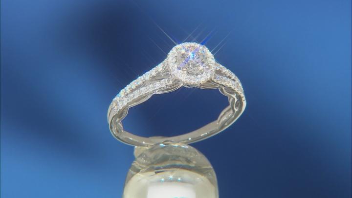 Enchanted Disney Cinderella Engagement Ring White Diamond And Blue Sapphire 14k White Gold 1.20ctw