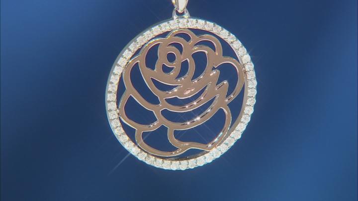 Enchanted Disney Belle Rose Pendant White Diamond Rhodium & 14k Rose Gold Over Silver 0.20ctw