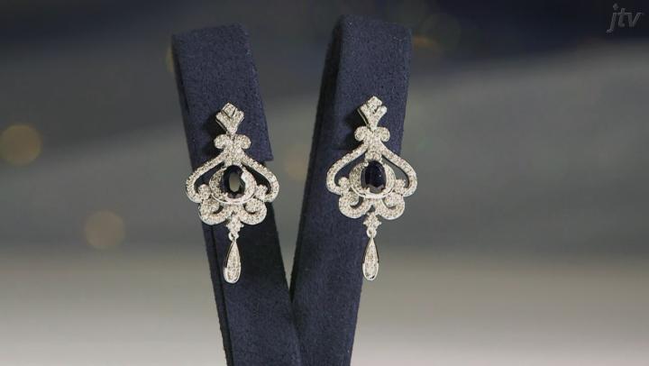 Enchanted Disney Cinderella Dangle Earrings Blue Sapphire And White Diamond 10k White Gold 1.60ctw