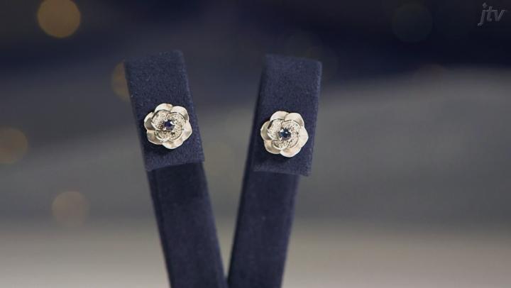 Enchanted Disney Cinderella Stud Earrings Blue Sapphire And White Diamond Rhodium Over Silver .25ctw