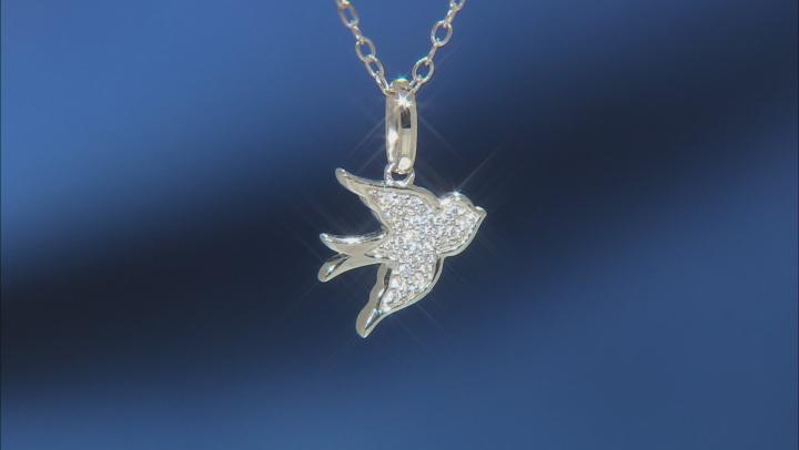 Enchanted Disney Cinderella Bird Pendant White Diamond Accent Rhodium Over Silver