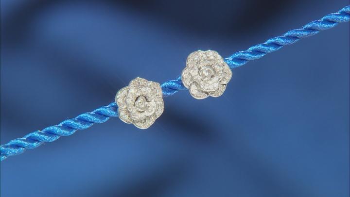 Enchanted Disney Cinderella Flower Stud Earrings White Diamond Rhodium Over Silver 0.20ctw