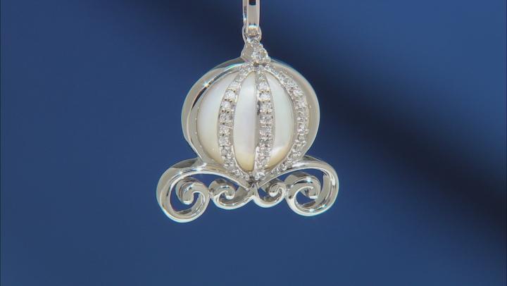 Enchanted Disney Cinderella Carriage Pendant Mother-of-Pearl & Diamond Rhodium Over Silver 0.10ctw