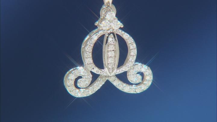 Enchanted Disney Cinderella Carriage Pendant With Chain White Diamond Rhodium Over Silver 0.20ctw