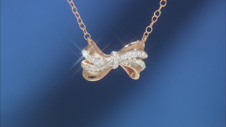 Enchanted Disney Snow White Bow Necklace White Diamond 10k Rose Gold 0.10ctw